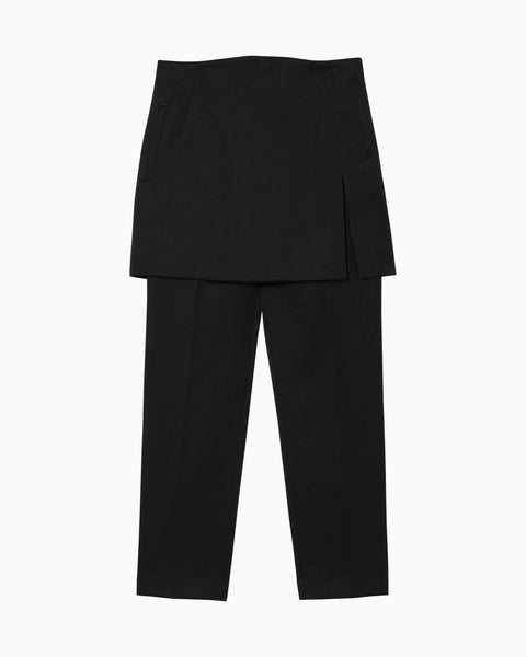 Wool Pants With Wrapped Skirt - black