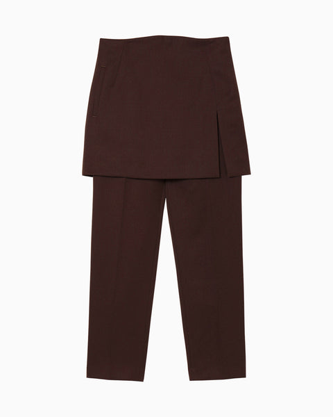 Wool Pants With Wrapped Skirt - brown