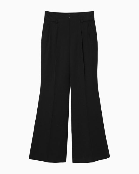 Wool High Waisted Flared Pants - black