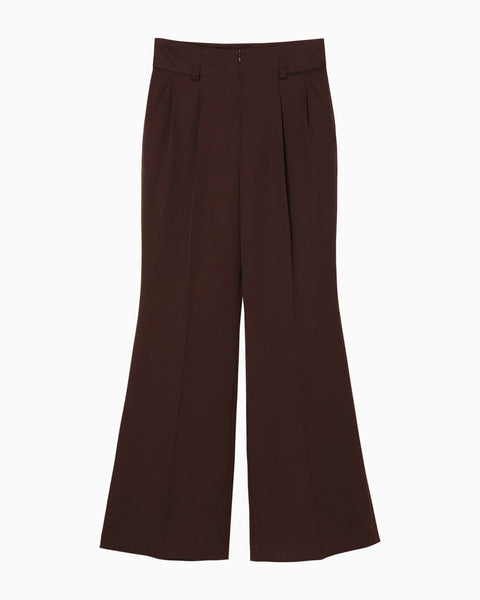 Wool High Waisted Flared Pants - brown