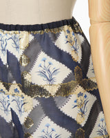 Floral Print Silk Jacquard Wide Pants - navy