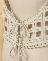 Cording Embroidery Vest - beige