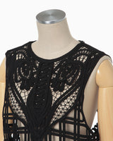 Cording Embroidery Vest - black