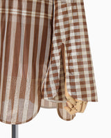 Chequered Shirt With Ribbon Tie - brown