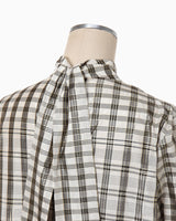 Chequered Shirt With Ribbon Tie - white