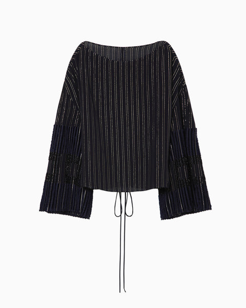 Shimmering Striped Tunic - navy