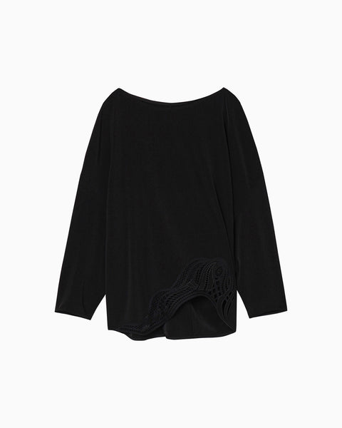 Embroidered Long Sleeve Top - black