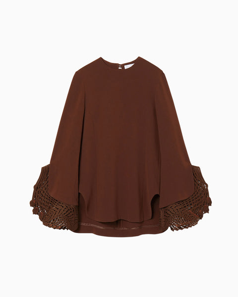 Embroidered Cuff Top - brown