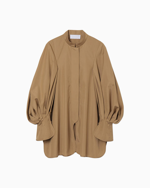 Puff Sleeve Cotton Shirt - beige