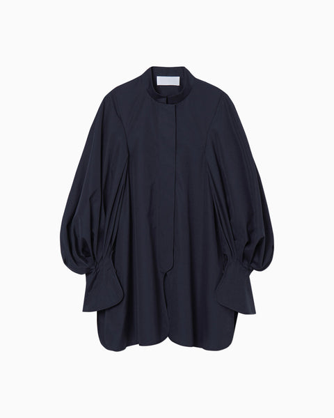 Puff Sleeve Cotton Shirt - navy