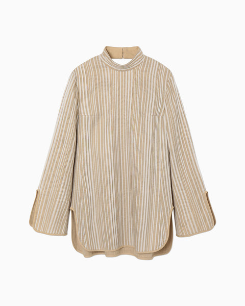 Ribbon Stripe High Neck Top - beige