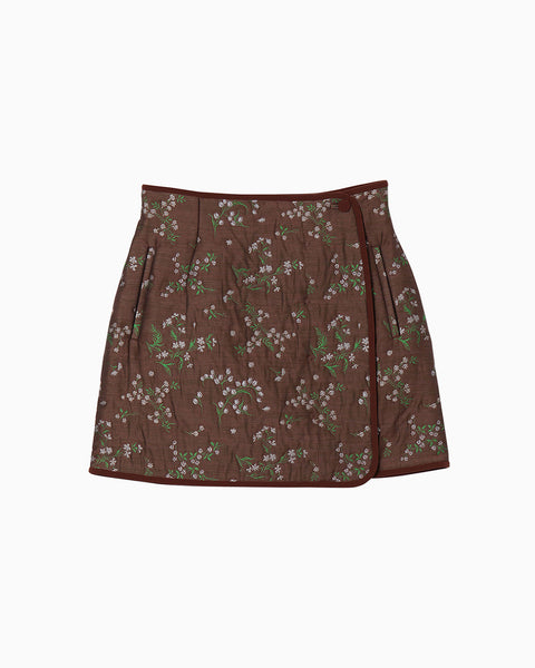 Floral Jacquard Skirt - brown