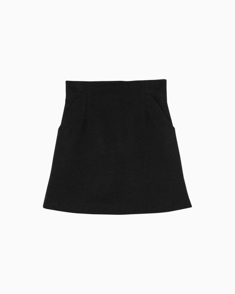 Silk Wool Shaggy Mini Skirt - black