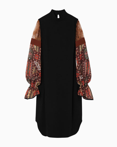 Stained Glass Printed Sleeve Dress - brown
