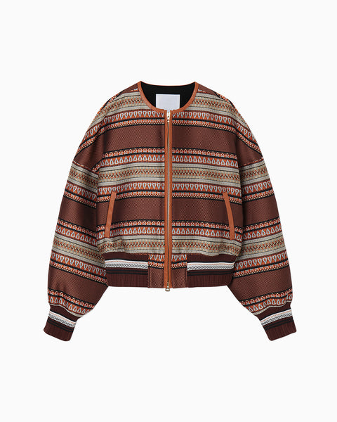 Ethnic Pattern Jacquard Blouson - brown