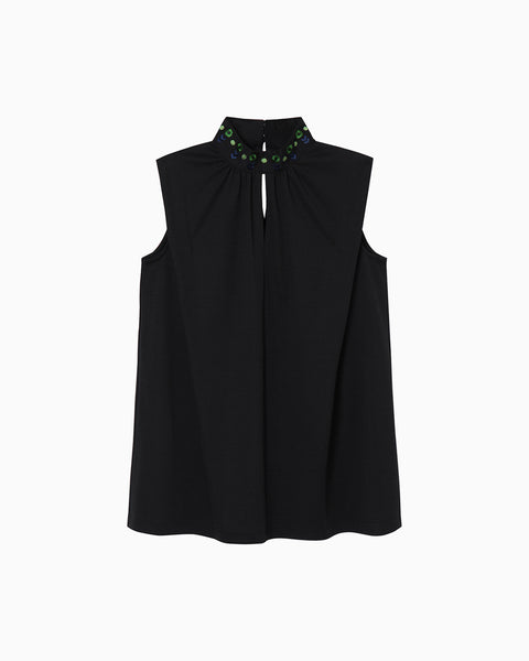 Sleeveless Jersey Top - black