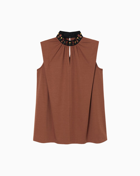Sleeveless Jersey Top - brown