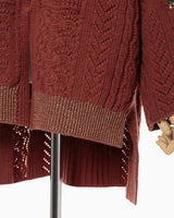 Oversized Chunky Knit Cardigan - brown