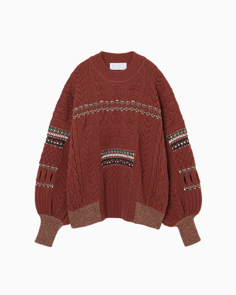 Oversized Chunky Knit Pullover - brown