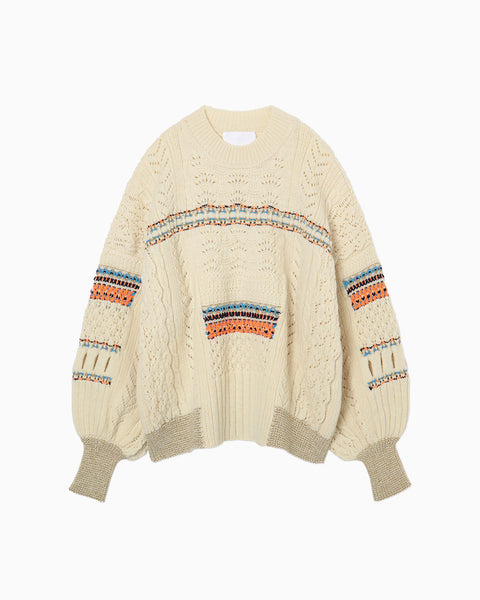 Oversized Chunky Knit Pullover - white