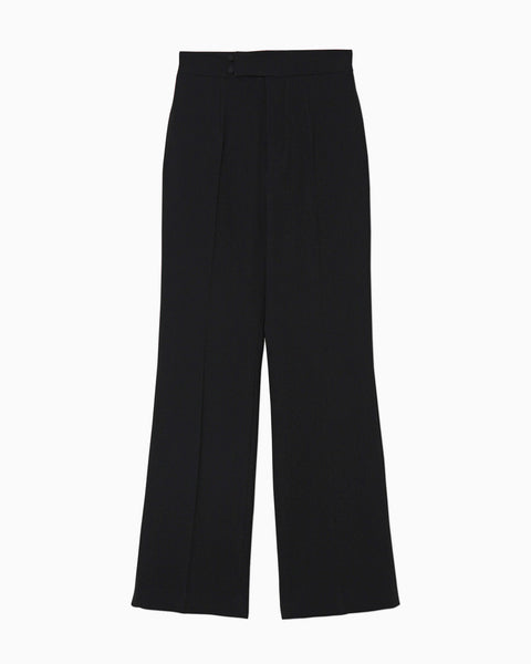 High Waisted Center Creased Pants - black