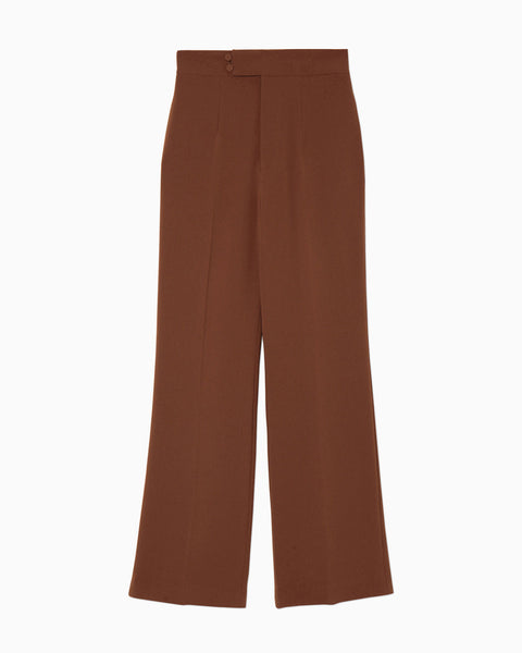 High Waisted Center Creased Pants - brown