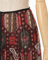 Stained Glass Printed Skirt - brown