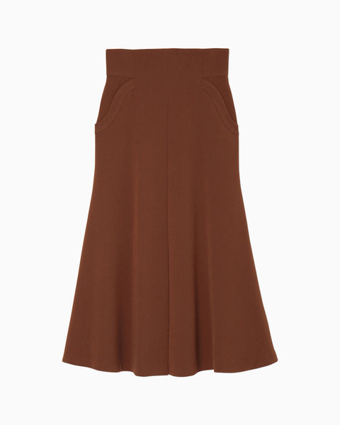 High Waisted Tucked Skirt - brown