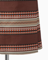 Ethnic Pattern Jacquard Trapeze Skirt - brown