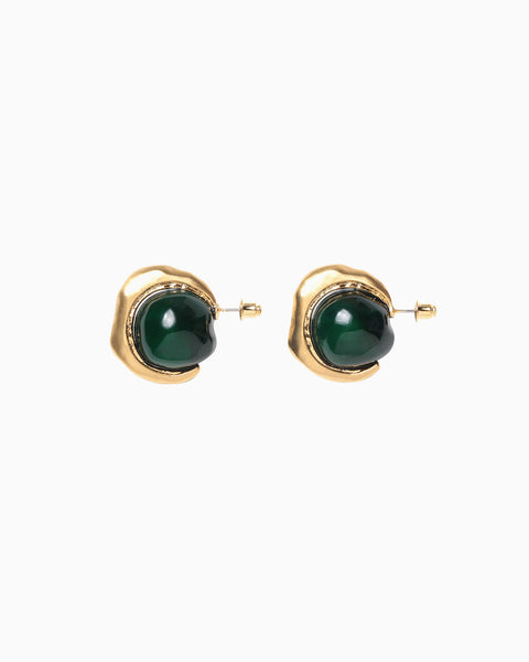 Soft Sphere Pierced Earrings - green