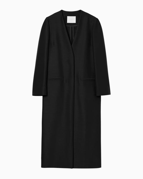 Wool Silk I-Line Coat - black