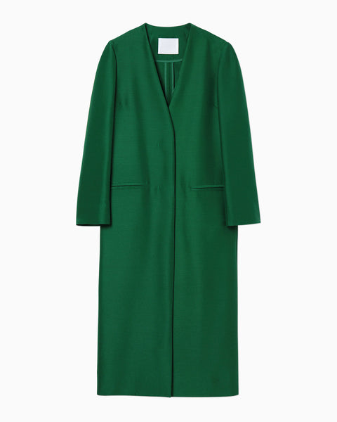Wool Silk I-Line Coat - green
