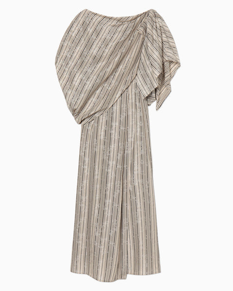 Ribbon Jacquard Draped Dress - beige