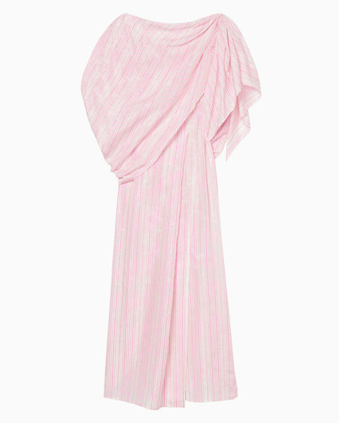 Ribbon Jacquard Draped Dress - pink