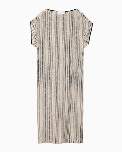 Ribbon Jacquard I-Line Dress - beige
