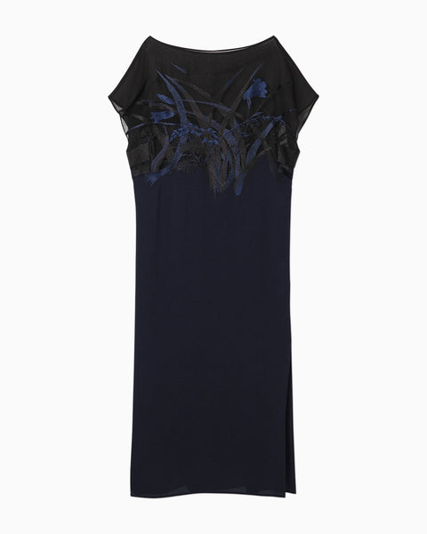 Botanical Embroidery Willow Stripe Dress - navy
