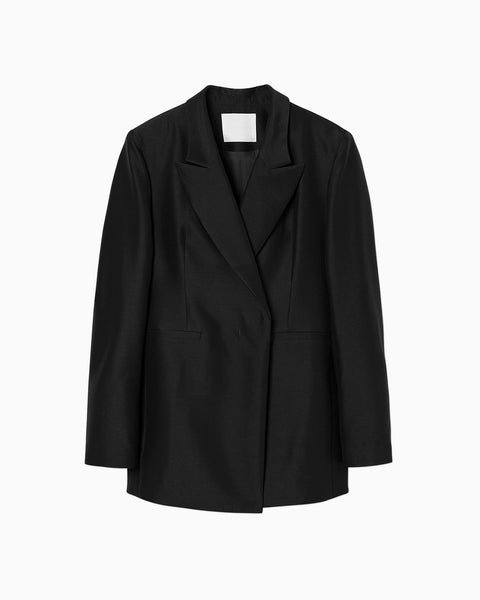 Wool Silk Double Breasted Jacket - black