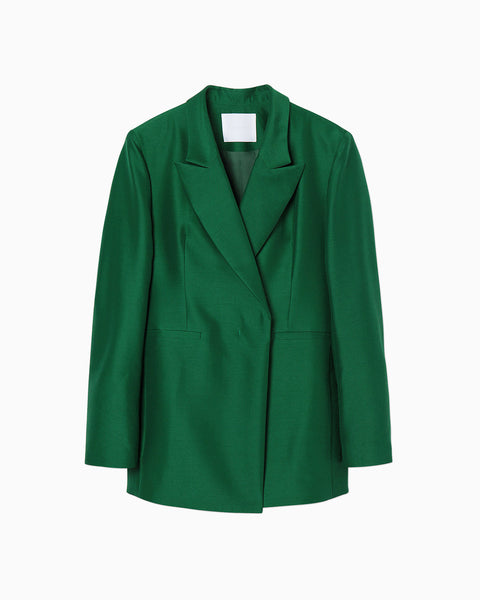 Wool Silk Double Breasted Jacket - green
