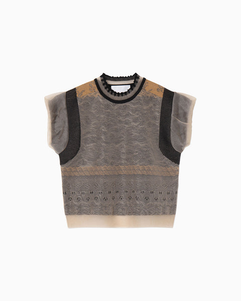 Cocoon Layered Knit Tops - beige