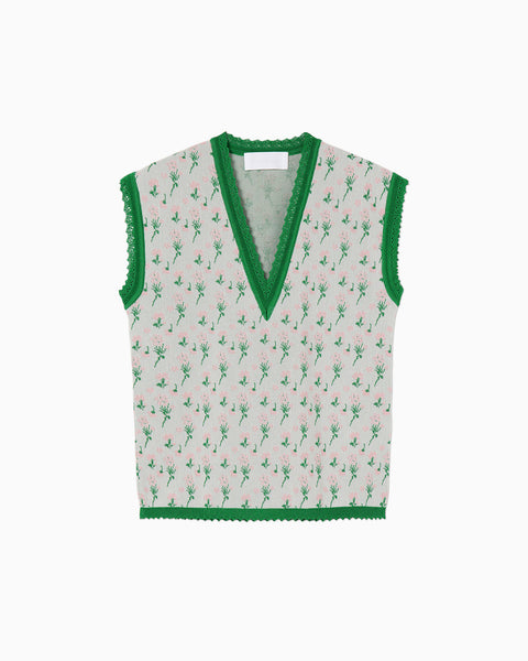 Pedicel Knit Sleeveless Tops - green