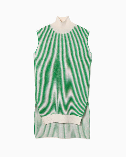 Knit Stripe High-Neck Tops - green