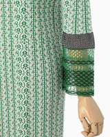 Rib Jacquard Pedicel Knit Dress - green