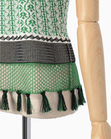 Rib Jacquard Pedicel Knit Tops - green