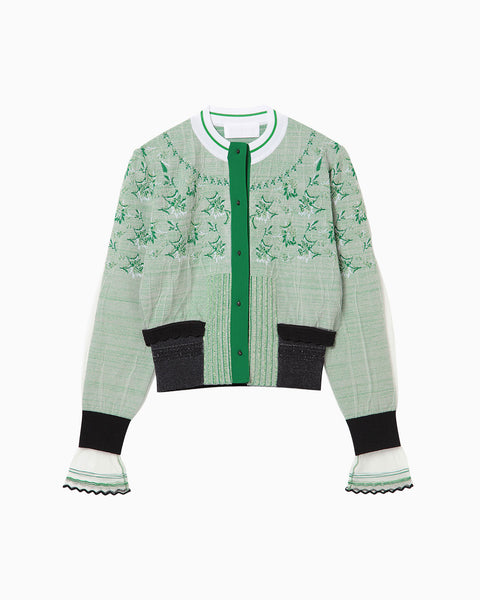Cocoon Layered Knit Jacquard Cardigan - green