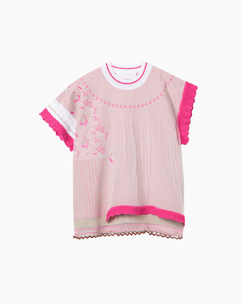 Cocoon Layered Knit Jacquard Tops - pink