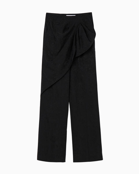 Floral Jacquard Pants - black