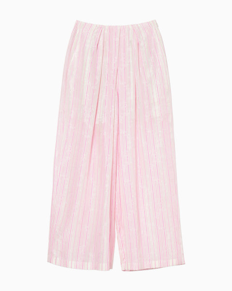 Ribbon Jacquard Wide Pants - pink