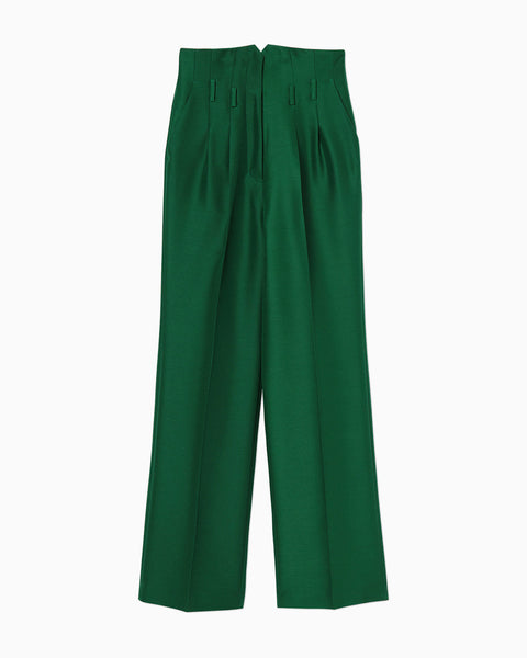 Wool Silk Straight Pants - green