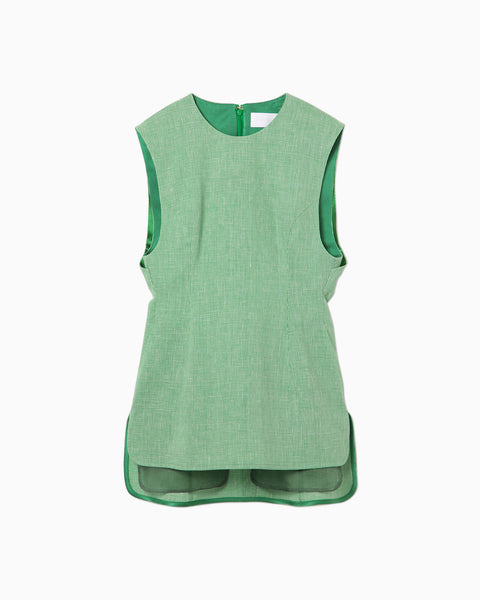 Wool Linen Sleeveless Tops - green