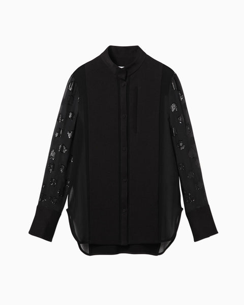 Film Jacquard Sleeves Shirt - black